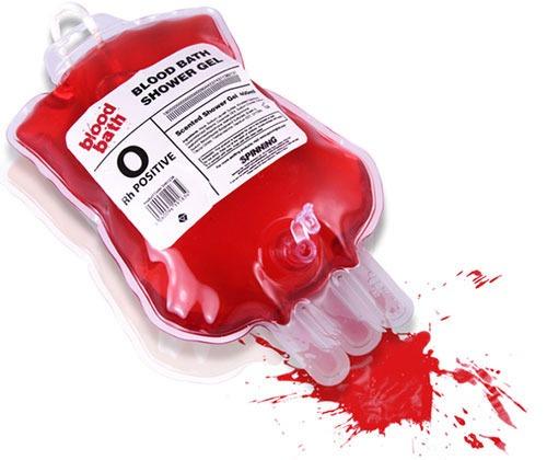 Gel de baño que parece sangre