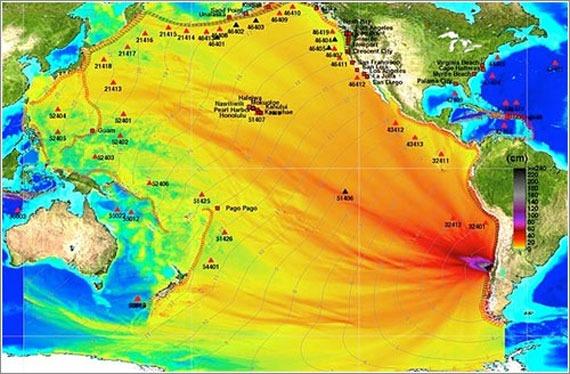 Maremotos causados por terremotos a miles de Km de distancia