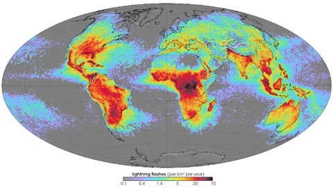 Mapa mundial de frecuencia de relámpagos en tormentas