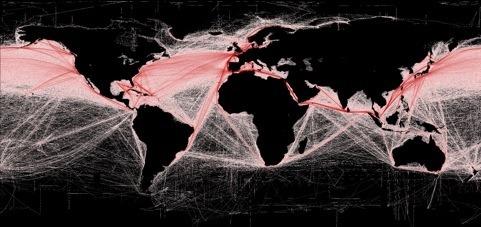 Mapa del tráfico marítimo mundial