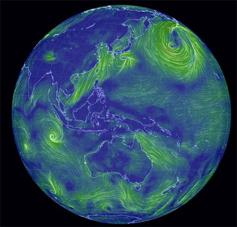 Mapa global de vientos en todo el planeta