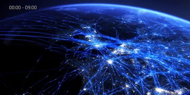 Impresionante visualización del tráfico aéreo en Europa