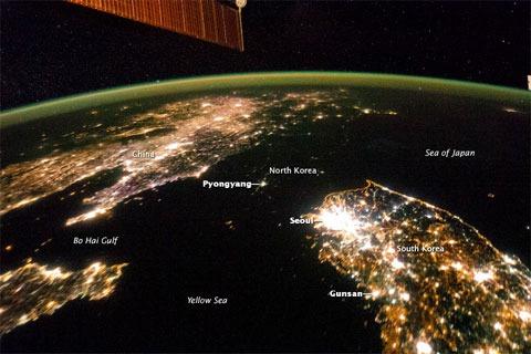 Diferencias económicas visibles desde el espacio: Corea del Norte