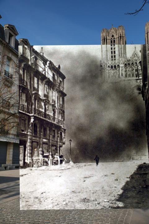 Fotos de la 1ra Guerra Mundial superpuestas sobre imágenes del mismo lugar en la actualidad