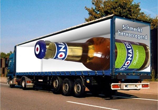 Camiones con impresionantes efectos ópticos para mostrar publicidad