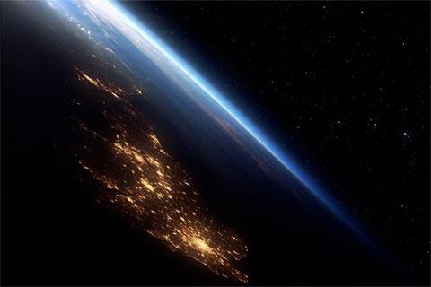 Inglaterra con una foto del planeta