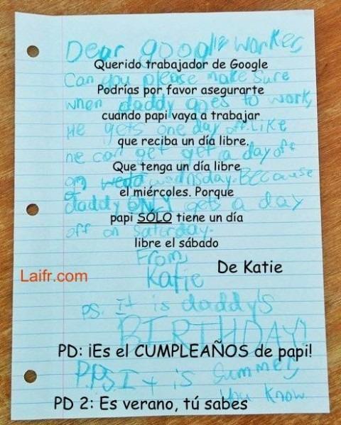 Una niña pide a Google un día libre para su padre por carta. Y Google respondió…