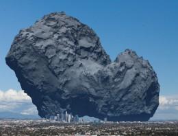 Así es el cometa Churyumov-Gerasimenko comparado con Los Ángeles