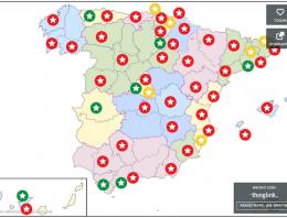 Mapa con los 169 restaurantes con estrella Michelín de España en 2015