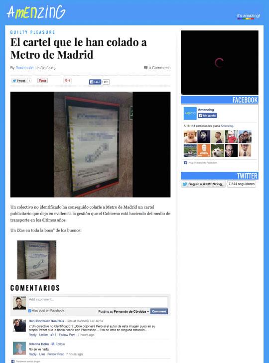 """Cartel que se supone que le """"han colado"""" al metro de Madrid"""