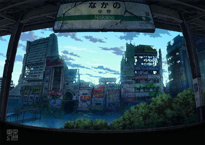 Estación de tren de Nakano postapocalíptica