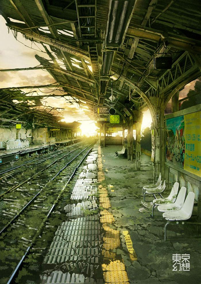 Estación de tren postapocalíptica