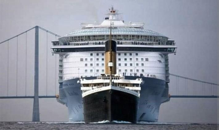 Así de pequeño parece el Titanic comparado con los transatlánticos actuales