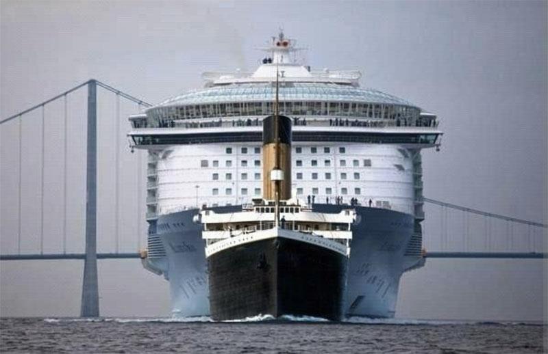 Comparación entre el Titanic y el Oasis of the Seas